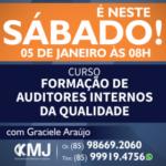 É NESTE SÁBADO, 05/01/19 – Curso Formação de Auditores Internos da Qualidade