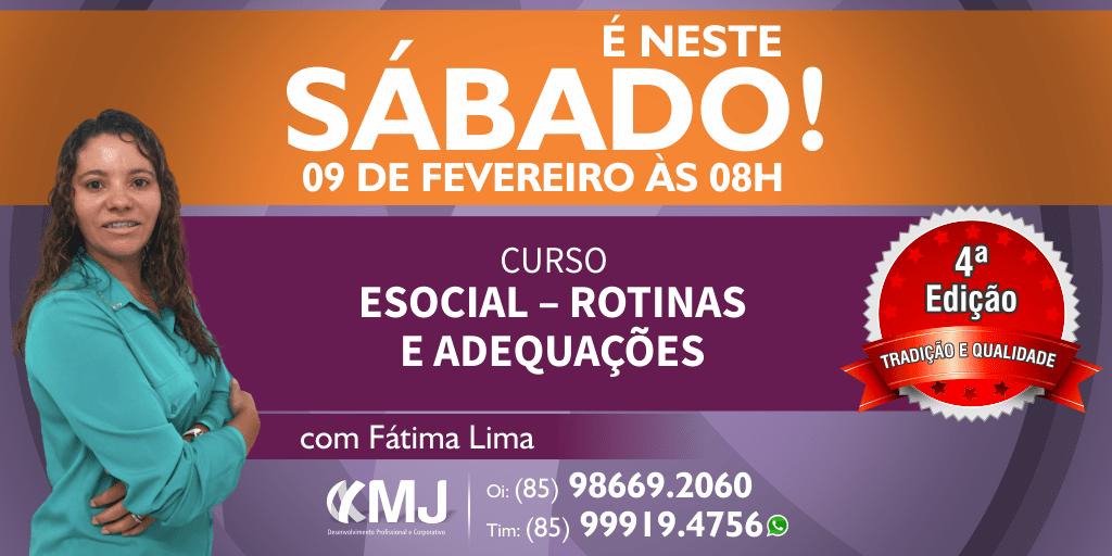 É NESTE SÁBADO, 09/02/19 - Curso eSocial – Rotinas e Adequações